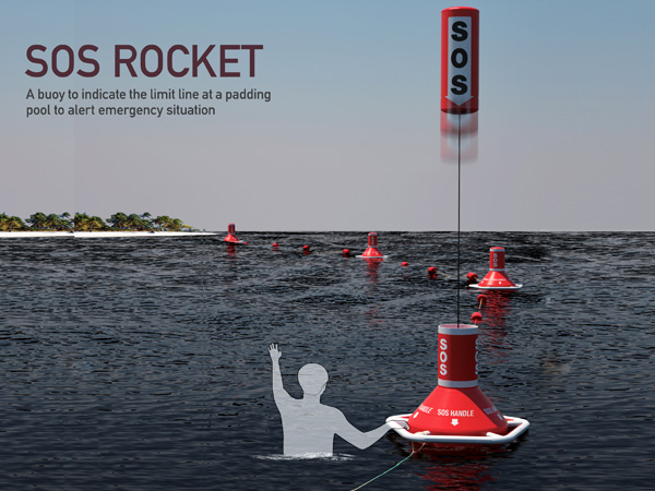 The SOS Rocket 海上呼救器