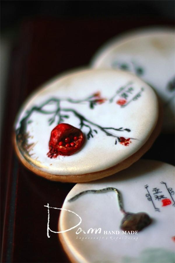 一叶知秋:中式手绘立体翻糖饼干