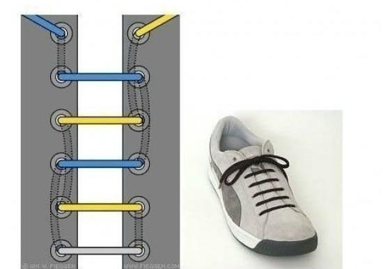 一字花式系鞋带步骤