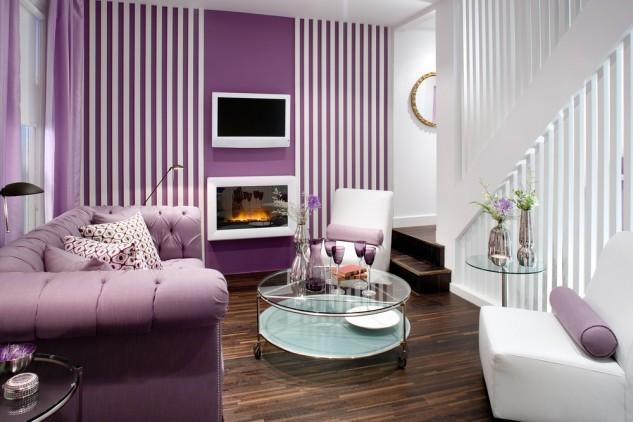 一抹优雅紫 提升客厅格调